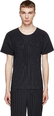 Homme Plisse Issey Miyake , Navy Pleated T Shirt