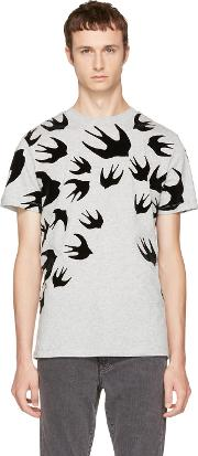 Mcq Alexander Mcqueen , Grey And Black Swallows T Shirt