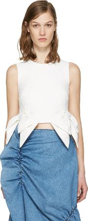 Msgm , White Cropped Bow Tank Top