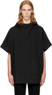 Naked And Famous Denim , Black Denim Poncho Hoodie