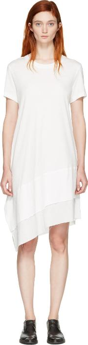 Nocturne 22 , Off White Asymmetric T Shirt Dress