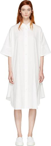 Nocturne 22 , White Circle Shirt Dress