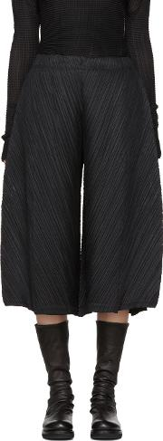 Pleats Please Issey Miyake , Black Thicker Bounce Wide Trousers