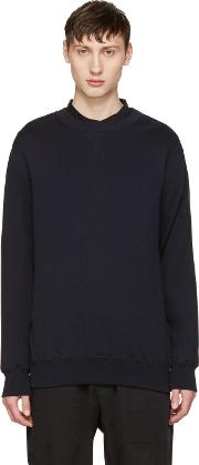 Sacai , Navy Cotton And Cashmere Pullover
