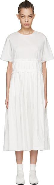 Sara Lanzi , Off White Pleated Poplin Dress