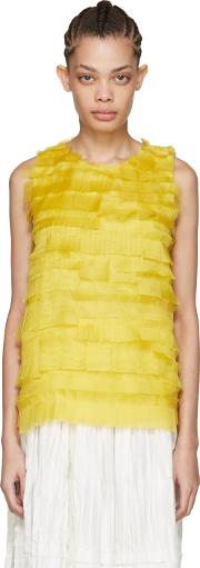 Sara Lanzi , Yellow Silk Net Tank Top