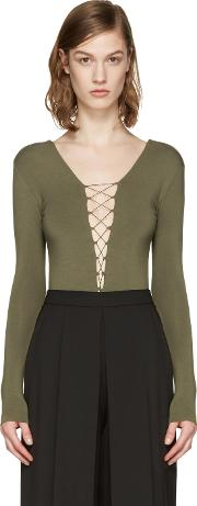 T By Alexander Wang , Green Lace Up Bodysuit