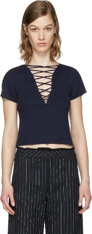 T By Alexander Wang , Navy Lace Up Pullover