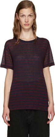 T By Alexander Wang , Red And Navy Striped T Shirt