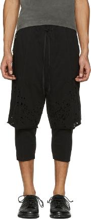 The Viridianne , The Viridi Anne Black Destroyed Layered Shorts