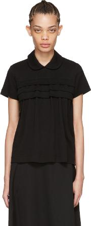 Tricot Comme Des Garcons , Black Layered Ruffle Polo