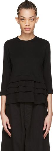 Tricot Comme Des Garcons , Black Layered Ruffle T Shirt