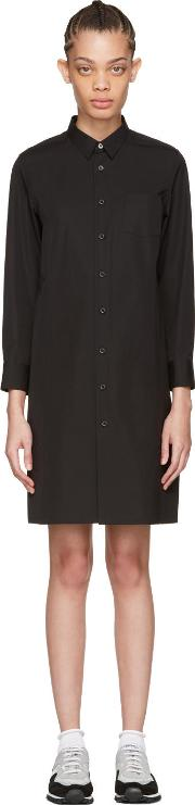 Tricot Comme Des Garcons , Black Poplin Shirt Dress