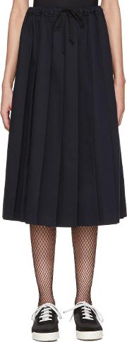 Tricot Comme Des Garcons , Navy Pleated Twill Skirt