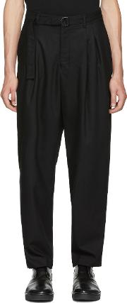 Undecorated Man , Black Two Tuck Wide Trousers