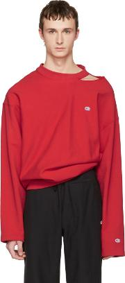 Vetements , Red Champion Edition Cut Out Neckline Pullover