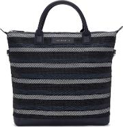 Want Les Essentiels , Navy Canvas And Cord Ohare Tote