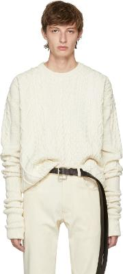 Yproject , Y Project Ivory Asymmetric Sleeve Sweater