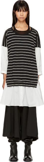 Ys , White And Black Flare Pullover