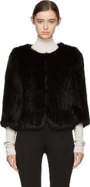 Yves Salomon , Black Knit Fur Liner Jacket