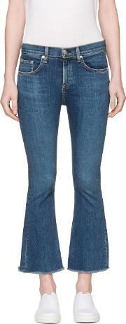 Rag And Bone , Blue Crop Flare Jeans