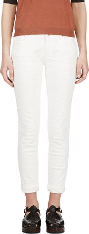 Avelon , Ivory Painted Stripe Neon Jeans
