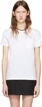 White , Lace Intarsia T Shirt
