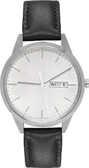 Uniform Wares , Silver And Black Leather C40 Calendar Watch