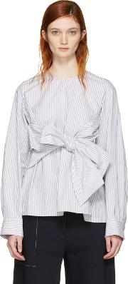 Cyclas , Grey Striped Front Bow Blouse