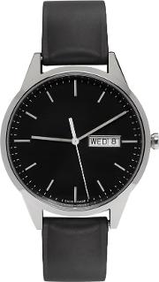 Uniform Wares , Silver And Black Rubber C40 Calendar Watch