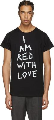 Ann Demeulemeester , Black I Am Red With Love T Shirt