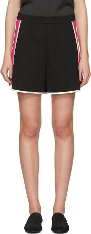 Lanvin , Black And Pink Panelled Shorts