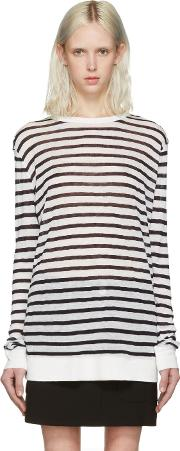 T By Alexander Wang , Navy And Ivory Striped T Shirt