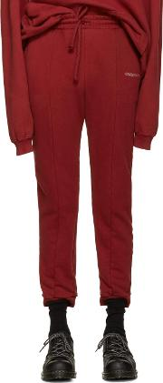 Vetements , Burgundy Embroidered Logo Lounge Pants