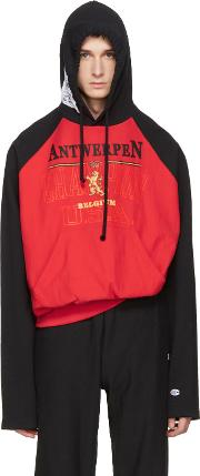 Vetements , Red And Black Champion Edition Antwerpen Hoodie