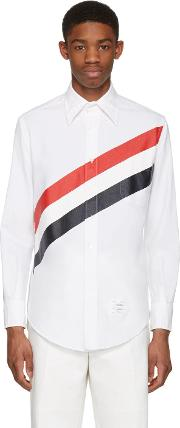 White , Diagonal Stripe Classic Shirt