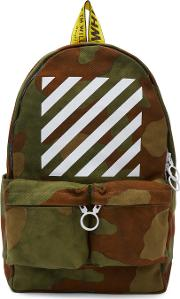 Offwhite , Off White Green Camouflage Diagonal Backpack
