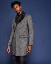 Ted Baker , Herringbone Wool Overcoat Grey