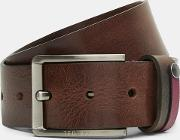 Ted Baker , Contrast Detail Leather Belt Chocolate