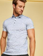 Ted Baker , Flecked Cotton Polo Shirt Blue