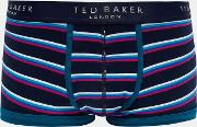 Ted Baker , Striped Organic Cotton-blend Boxers Navy