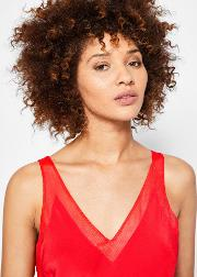 Ted Baker , Ted Baker Silk Mesh Trim Cami Bright Red