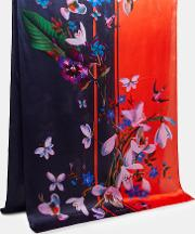 Ted Baker , Tropical Oasis Silk Long Scarf Mid Red