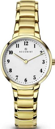 Accurist , Ladies Gold Plated Bracelet Watch 8130
