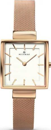 Accurist , Ladies Rose Gold Plated Square Mesh Bracelet Watch 8132