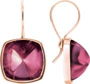 Baccarat , Medicis Gold Plated Pink Crystal Square Drop Earrings 2802973