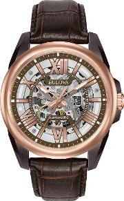 Bulova , Rose Gold Plated Leather Strap Watch 98a165
