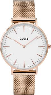 Cluse , La Boheme Rose Gold Plated Mesh Bracelet Watch Cl18112