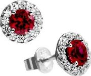 Diamonfire , Silver Clear Red Cubic Zirconia Cluster Stud Earrings 62-1558-1-088