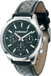 Fred Bennett , Chronograph Dial Leather Strap Watch Z828
